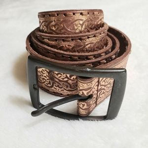 Fossil Leather Metallic Coppery Medium Belt